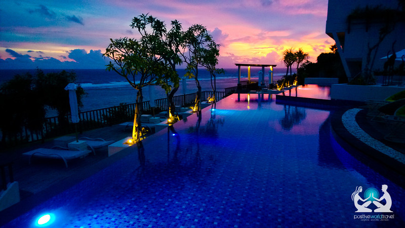 Poolside sunset at Samabe