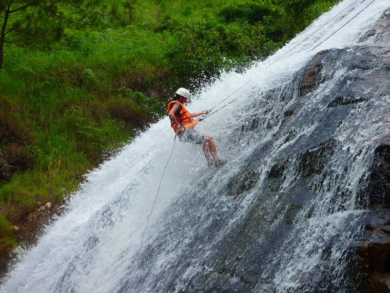 Cayoning through waterfall