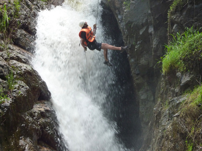 Waterfall abseiling canyoning